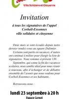 Réunion des signataires de Corbeil-Essonnes solidaire et citoyenne lundi 23 septembre
