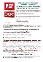 UNE ACTUALITÉ POLITIQUE ET ÉCONOMIQUE MOROSE  EN FRANCE ET À CORBEIL-ESSONNES
