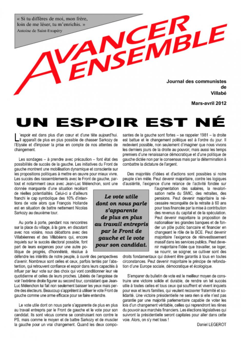 Journal des communistes de Villabé - Mars/avril 2012
